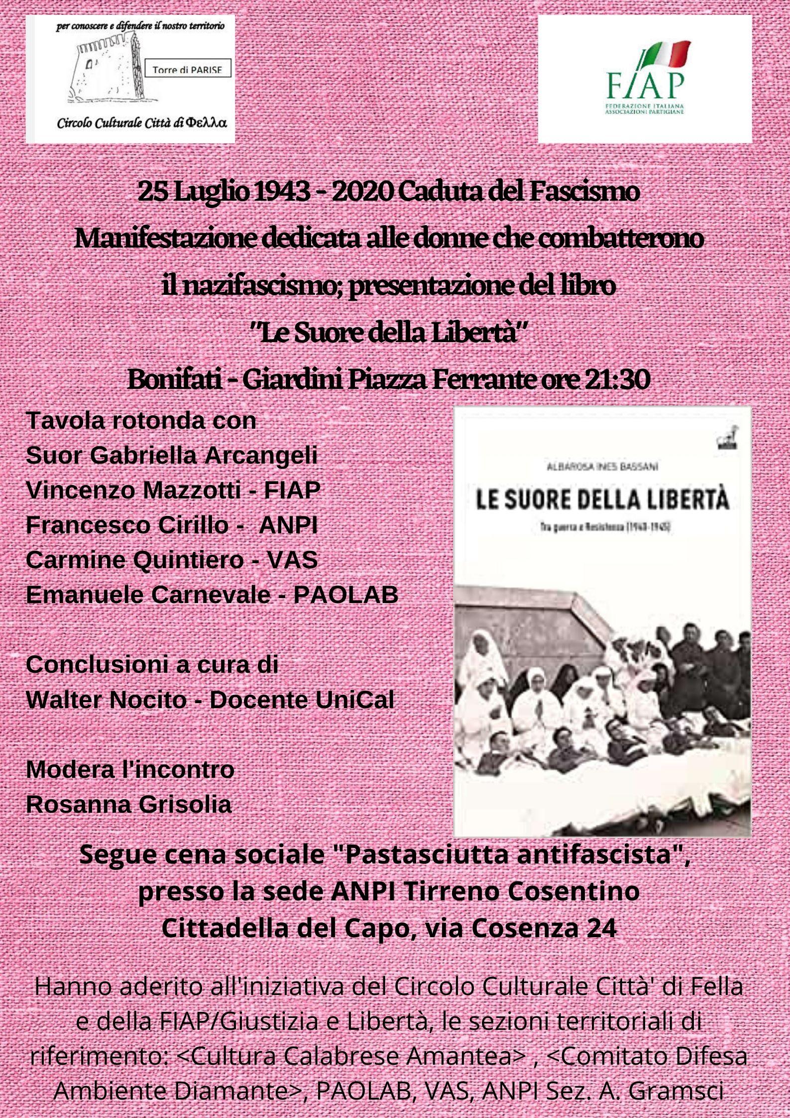 25 Luglio 1943 - 2020 Manifestazione dedicata alle donne che combatterono il nazifascismo